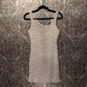 Off-white lace detail mini dress